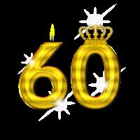 60 - Geburtstag - Krone - Kerze - Gold