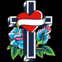 Kreuz mit Herz und Rosen Tattoo