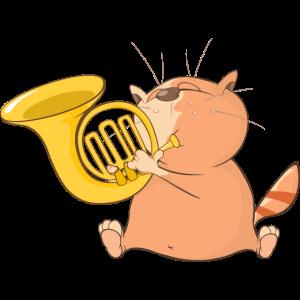 Katze und Horn