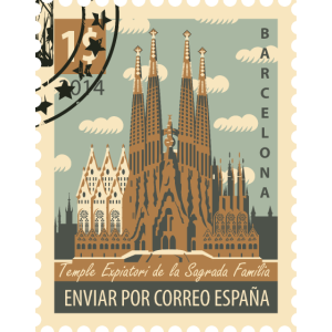 Briefmarke Spanien Sagrada Familia Barcelona