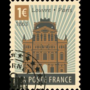 Briefmarke Frankreich Louvre Paris