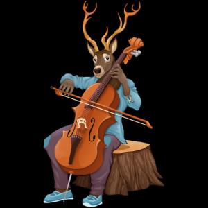 Hirsch, der Cello spielt
