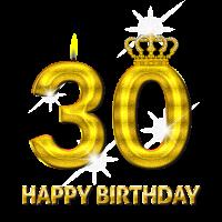 30 - Happy Birthday - Geburtstag - Zahl Gold