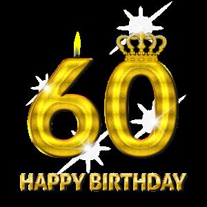 60 - Happy Birthday - Geburtstag - Zahl Gold