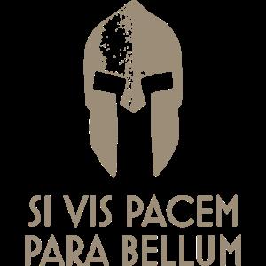 Spartanisches Helm lateinisches Motto Si Vis Pacem Para Bellum