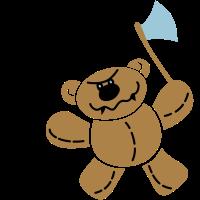 Killer Teddy-Bär mit Hackebeil
