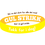 Gul strikk - bag