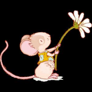 Maus mit Blume