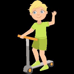 Kind auf einem Roller