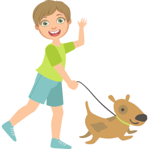 Kind, das einen Hund geht