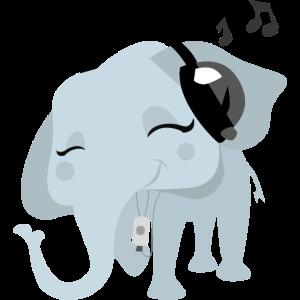Elefanten mit Kopfhörern