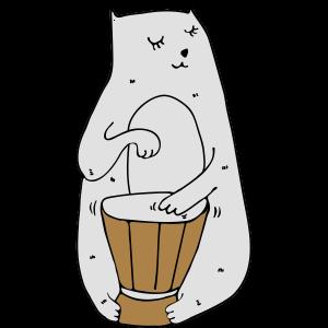 Katze mit Trommeln