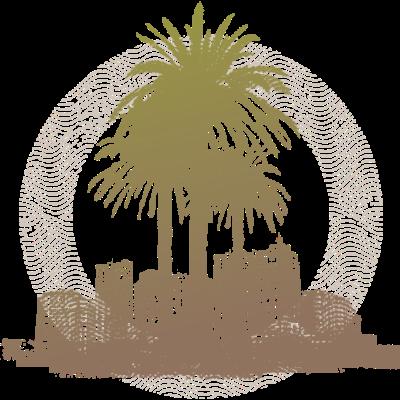 Palmtree stadt -  - freedesigns17,Wappen,Urban,Stadtbild,Stadt,Silhouette,Palmen,Natur,Kreis,Hip Hop,Graffiti,Farbverlauf,Baum