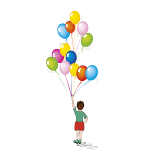 Jubilar mit Luftballons