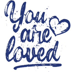 You are loved mit Herz blau