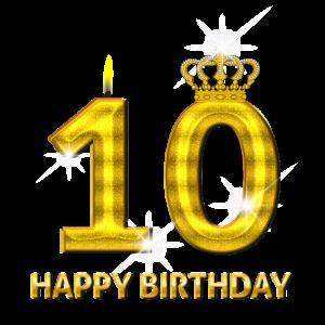 10 - Happy Birthday - Geburtstag - Zahl Gold