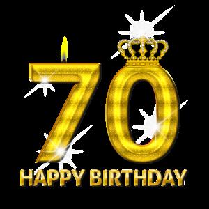 70 - Happy Birthday - Geburtstag - Zahl Gold