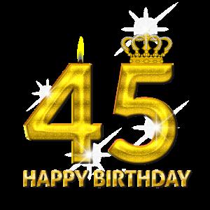 45 - Happy Birthday - Geburtstag - Zahl Gold