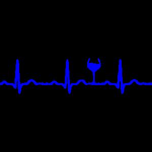 EKG HERZSCHLAG WEIN blau
