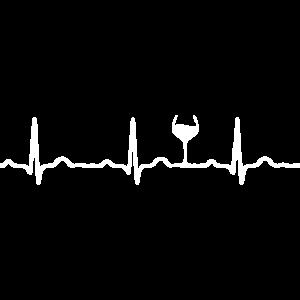EKG HERZSCHLAG WEIN weiß