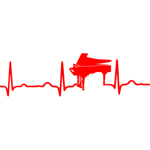 EKG HERZSCHLAG KLAVIER rot