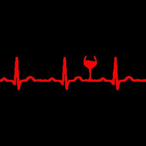 EKG HERZSCHLAG WEIN rot