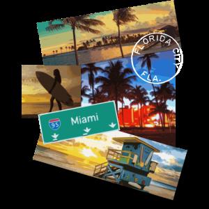 Miami Florida Plakat Reise Strand Surf T-Shirt