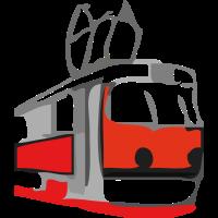 retro straßenbahn / tram rot-schwarz-weiß