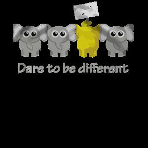 Elefant wagt es anders zu sein