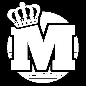 Stylischer Buchstabe M mit Krone