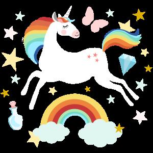 springendes Einhorn Regenbogen Pferd Wolken Sterne