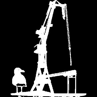 Hafenkran Werft Schiffsbau Dock Hamburg Möwe - Möwe neben Hafenkran - Werft,Seemann,Schiffsmechaniker,Schiffsbau,Schifffahrt,Schiff,Rostock,Möwe,Mechaniker,Kran,Kapitän,Ingeneur,Illustration,Hamburg,Hafenkran,Hafen,Giraffe,Dock,Boot,Arbeiter