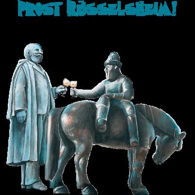 Prost Rüsselsheim - Opeldenkmal und Leinreiter-Denkmal in Rüsselsheim prosten sich zu. Etikett Rüsselsheim Riesling 2103. Original: Acryl auf Leinwand, 50 x 40 cm, Sigrun Sulk 2014. - witzige Sprüche,witzig,trinken,Wein,Text,Sprüche,Spruch,Rüsselsheim,Prost,Party,Lustig,Hessentag