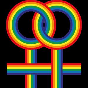 Doppelte weibliche Zeichen Regenbogen