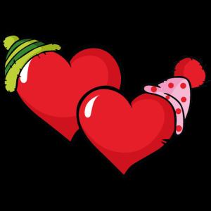 Herzen mit Mützen