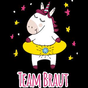 Team Braut - Einhorn - JGA Gruppenshirt