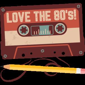 Love the 80s - Kassette mit Bleistift - Geschenk