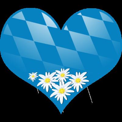 Bayern Herz mit Edelweiß - Die Liebe zur Heimat Bayern - wiesn,wandern,volksfest,verliebt,heimat,edelweiß,blau weiß,berge,Oktoberfest,München,Ländlich,Liebe,Liebe,Herz,Blasmusik,Bayern