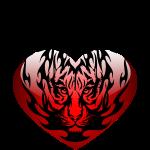 Feuriger Löwe im Herz