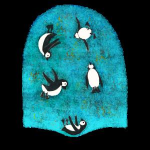 Pinguine am Trampolin