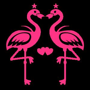 Flamingos Pink Verliebtes Paar Herzen Sterne Liebe