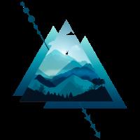 Dreieck Berge mit Hirsch 2