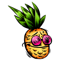 Party Ananas mit Sonnenbrille in Pink