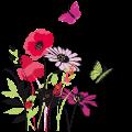 Motif Fleurs et papillons