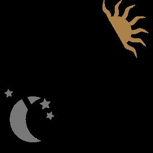 RAVE Minimal Text Sonne Mond Sterne Symbole