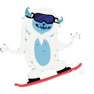 Snowboarden Yeti