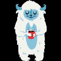 Yeti mit warmem Kaffee