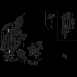 Dänemark Karte von Vorurteilen