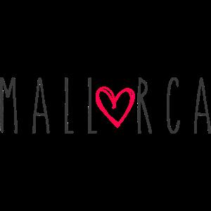 Mallorca Schriftzug mit Herz - Schwarz