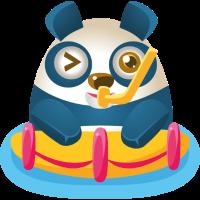 Panda sitzt im Wasser